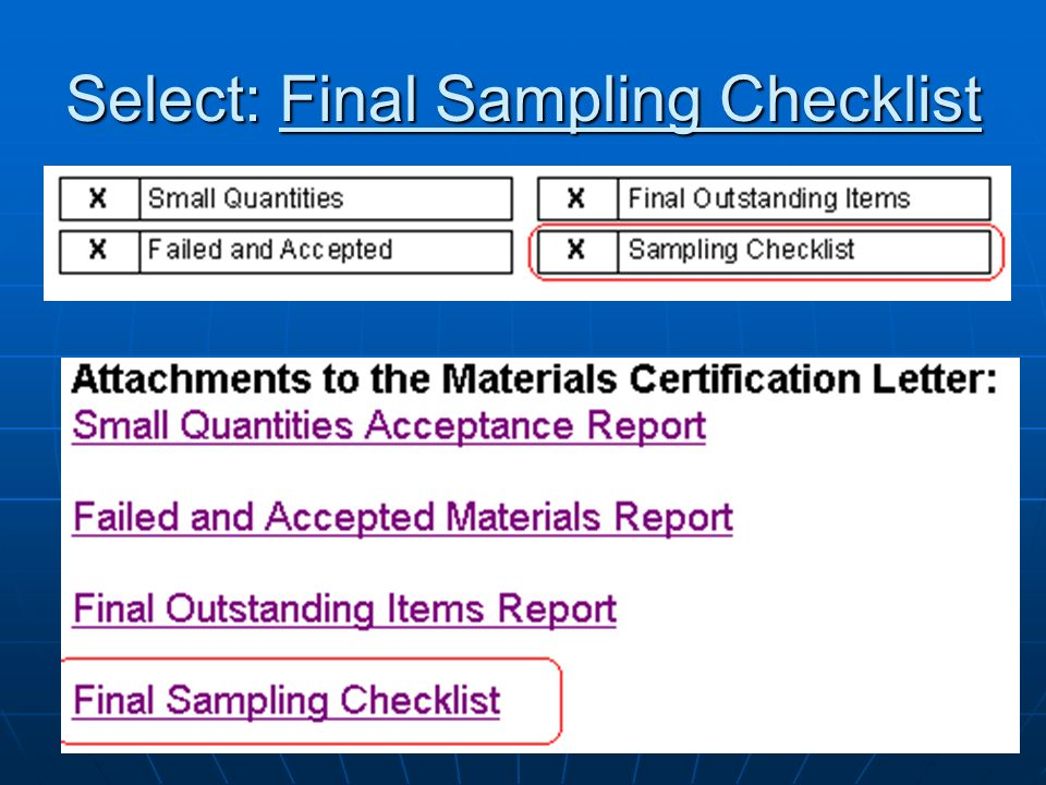 Select: Final Sampling Checklist
