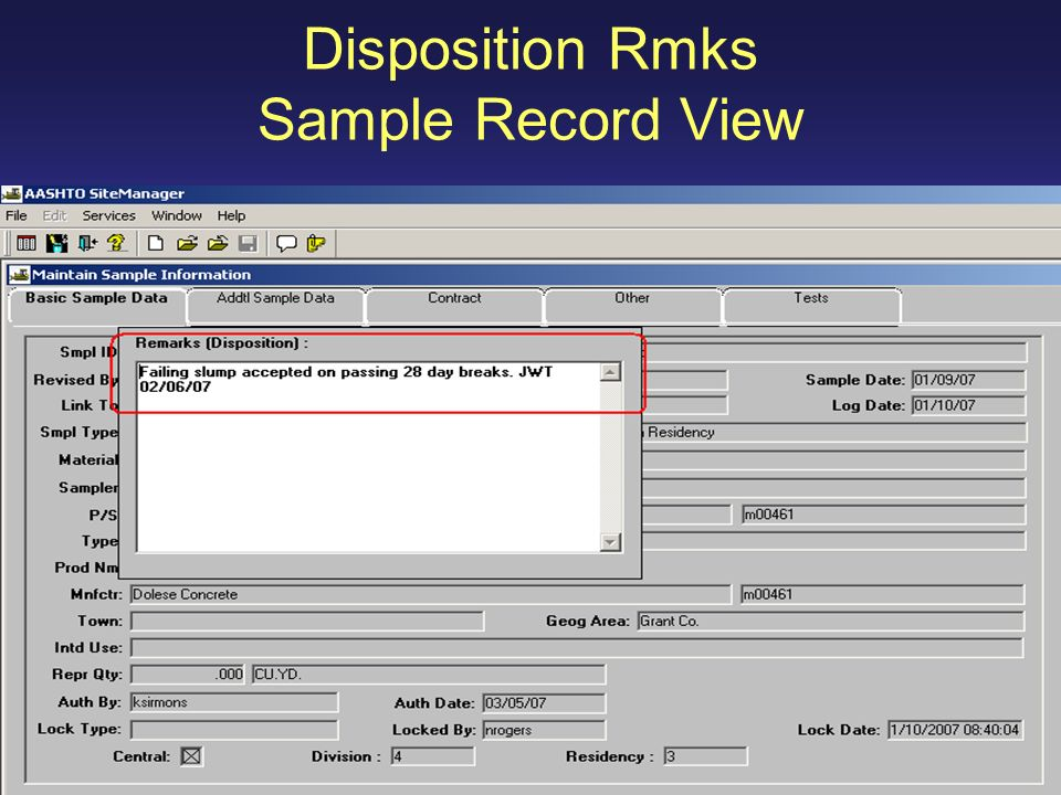 Disposition Rmks Sample Record View