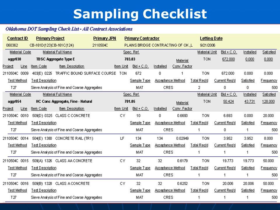 Sampling Checklist