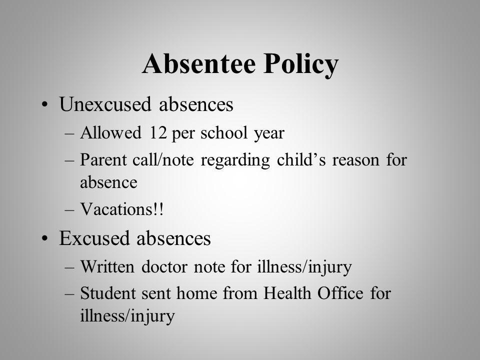 Absentee Policy Unexcused absences –Allowed 12 per school year –Parent call/note regarding childs reason for absence –Vacations!.