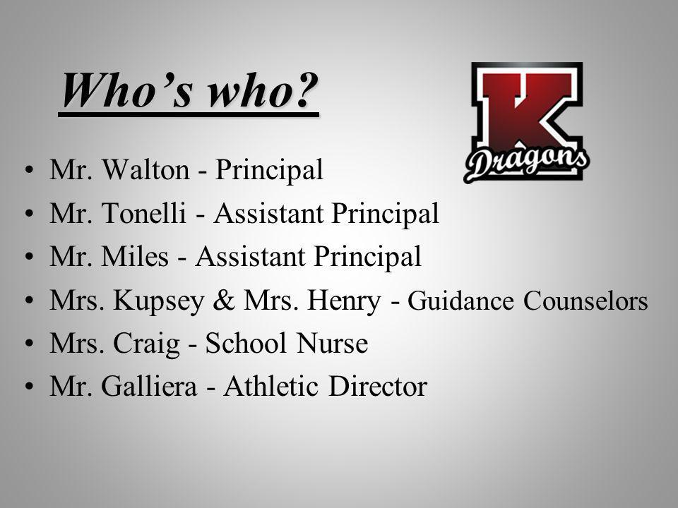 Whos who? Mr. Walton - Principal Mr. Tonelli - Assistant Principal Mr. Miles - Assistant Principal Mrs. Kupsey & Mrs. Henry - Guidance Counselors Mrs.