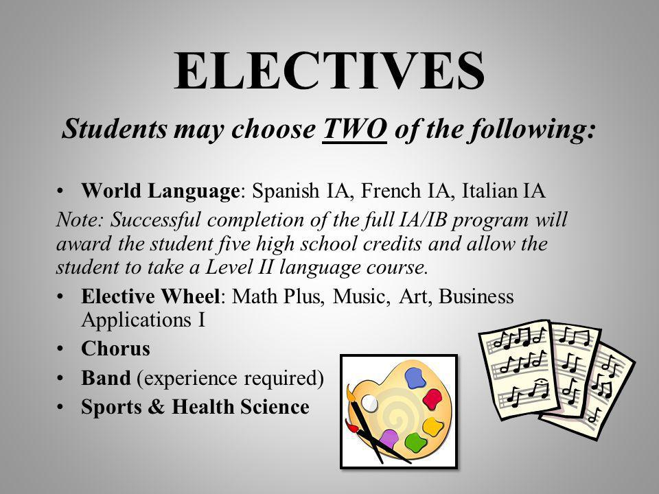 ELECTIVES Students may choose TWO of the following: World Language: Spanish IA, French IA, Italian IA Note: Successful completion of the full IA/IB program will award the student five high school credits and allow the student to take a Level II language course.