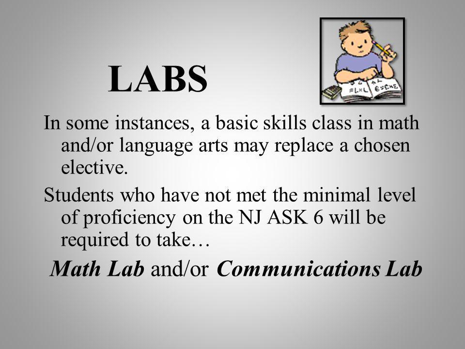 LABS In some instances, a basic skills class in math and/or language arts may replace a chosen elective. Students who have not met the minimal level o