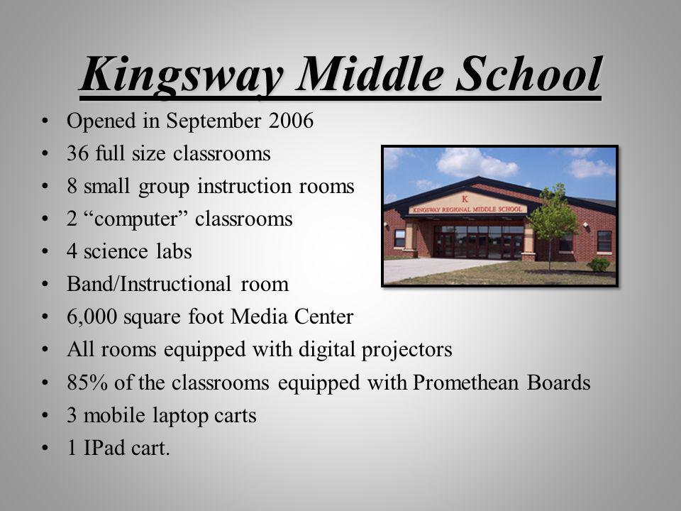 Kingsway Middle School Opened in September 2006 36 full size classrooms 8 small group instruction rooms 2 computer classrooms 4 science labs Band/Inst