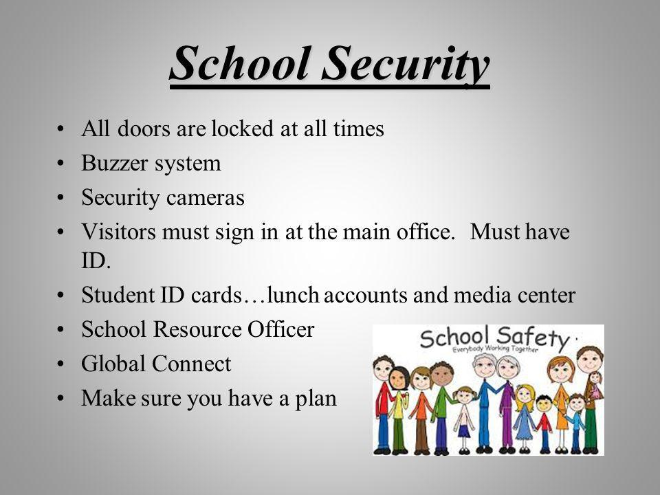 School Security All doors are locked at all times Buzzer system Security cameras Visitors must sign in at the main office.