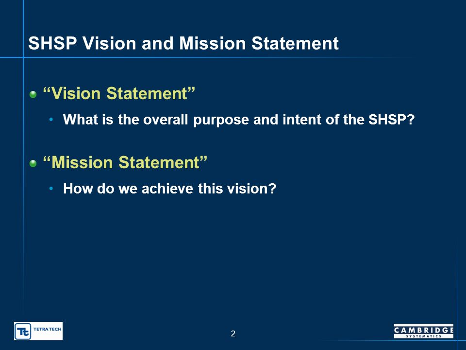 1 Todays Assignments Agree on a Vision and Mission for the SHSP What is the overall purpose and intent of the SHSP.