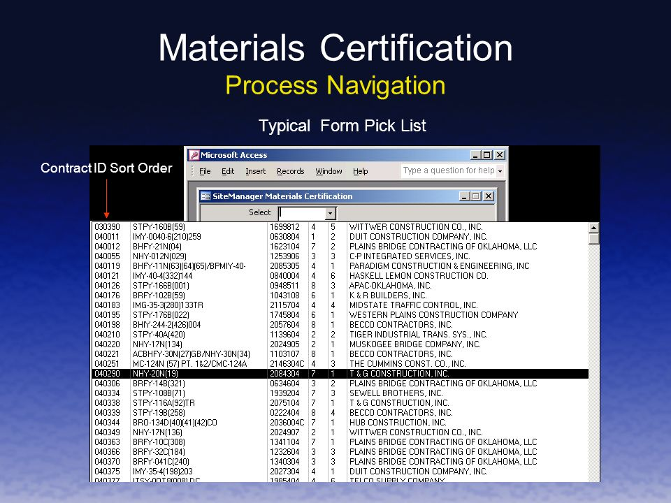 Typical Form Pick List Contract ID Sort Order Materials Certification Process Navigation