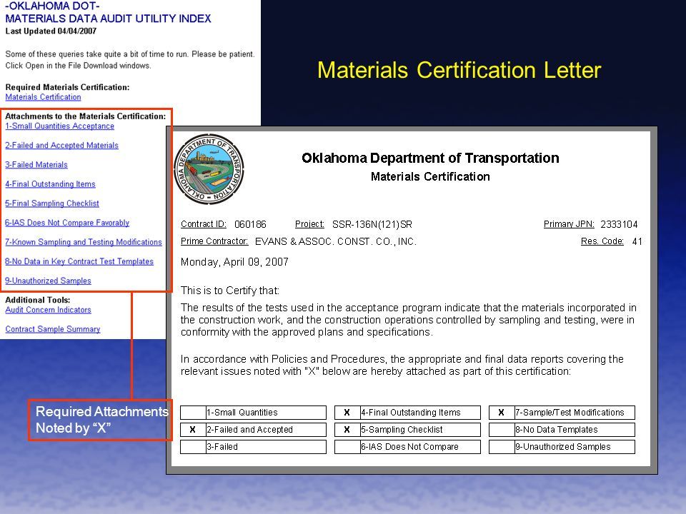 Materials Certification Letter Required Attachments Noted by X