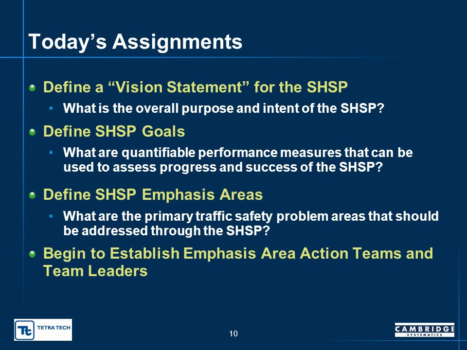 9 Understanding the Objectives of the SHSP Examine SAFETEA-LU requirements and opportunities Identify Oklahomas crash/fatality problems Identify and p