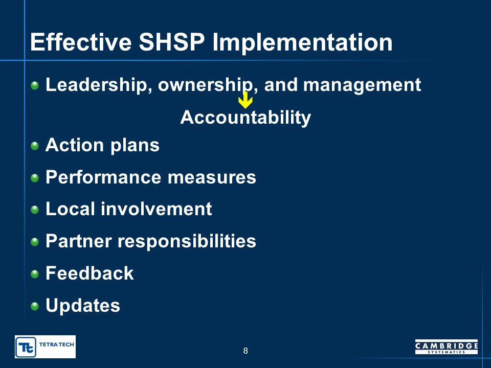 8 Effective SHSP Implementation Leadership, ownership, and management Accountability Action plans Performance measures Local involvement Partner responsibilities Feedback Updates
