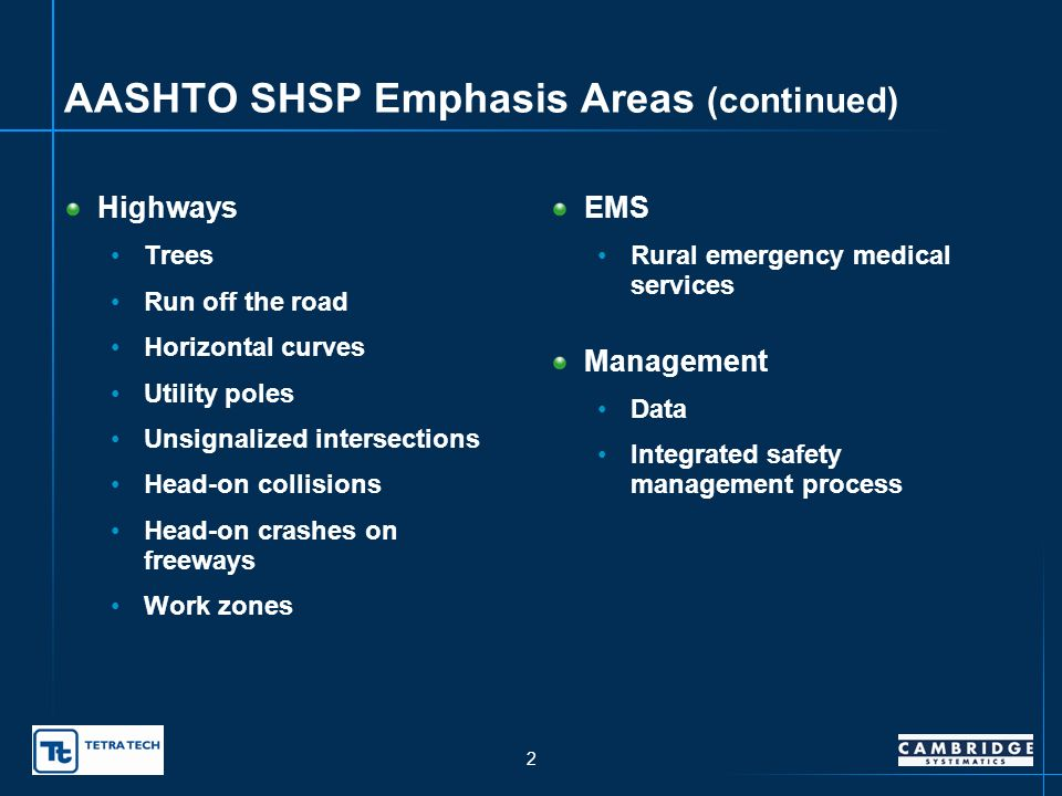1 AASHTO SHSP Emphasis Areas Drivers Young Unlicensed/suspended/ revoked drivers Older Aggressive Impaired Distracted/fatigued Seat belt use Speed Special users Pedestrians Bicyclists Vehicles Motorcycles Heavy trucks
