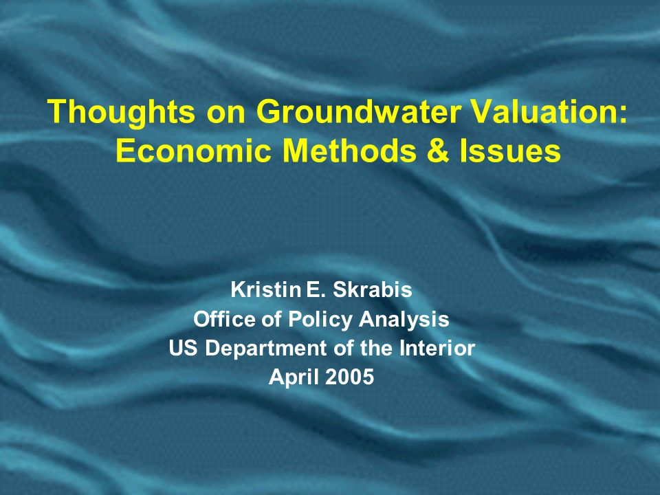 12 Groundwater Valuation Methods (contd) Cost Estimating Methodologies.