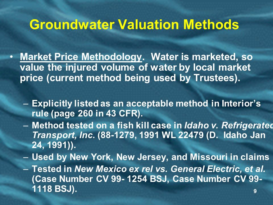9 Groundwater Valuation Methods Market Price Methodology.