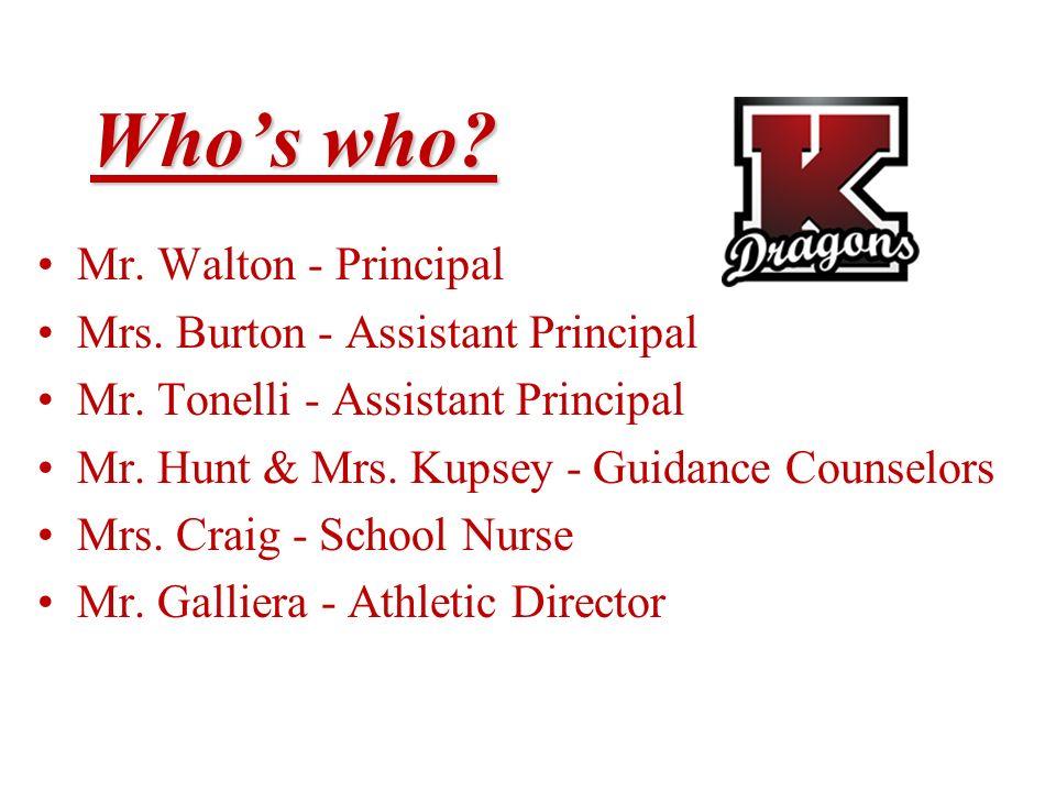Whos who? Mr. Walton - Principal Mrs. Burton - Assistant Principal Mr. Tonelli - Assistant Principal Mr. Hunt & Mrs. Kupsey - Guidance Counselors Mrs.