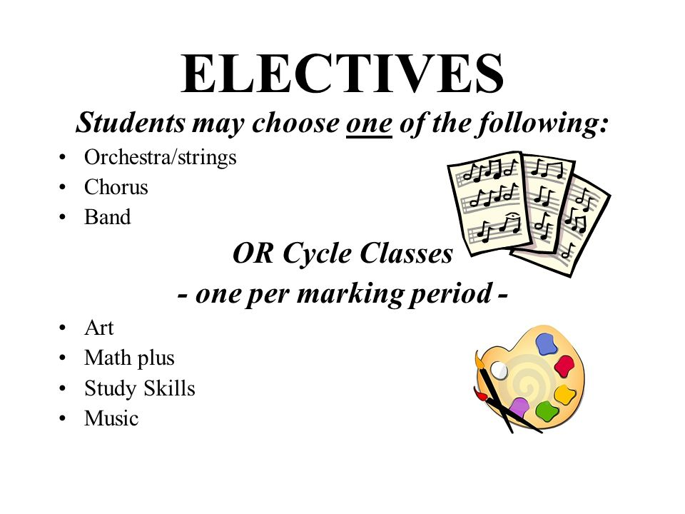 ELECTIVES Students may choose one of the following: Orchestra/strings Chorus Band OR Cycle Classes - one per marking period - Art Math plus Study Skil