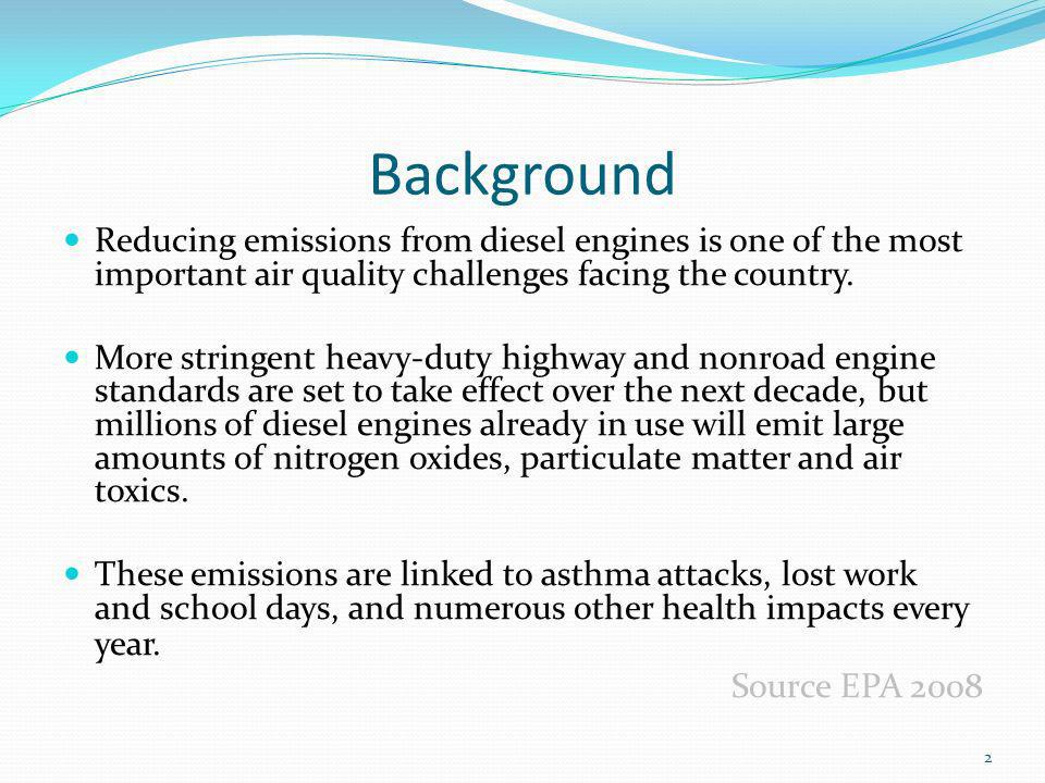 Background Reducing emissions from diesel engines is one of the most important air quality challenges facing the country.
