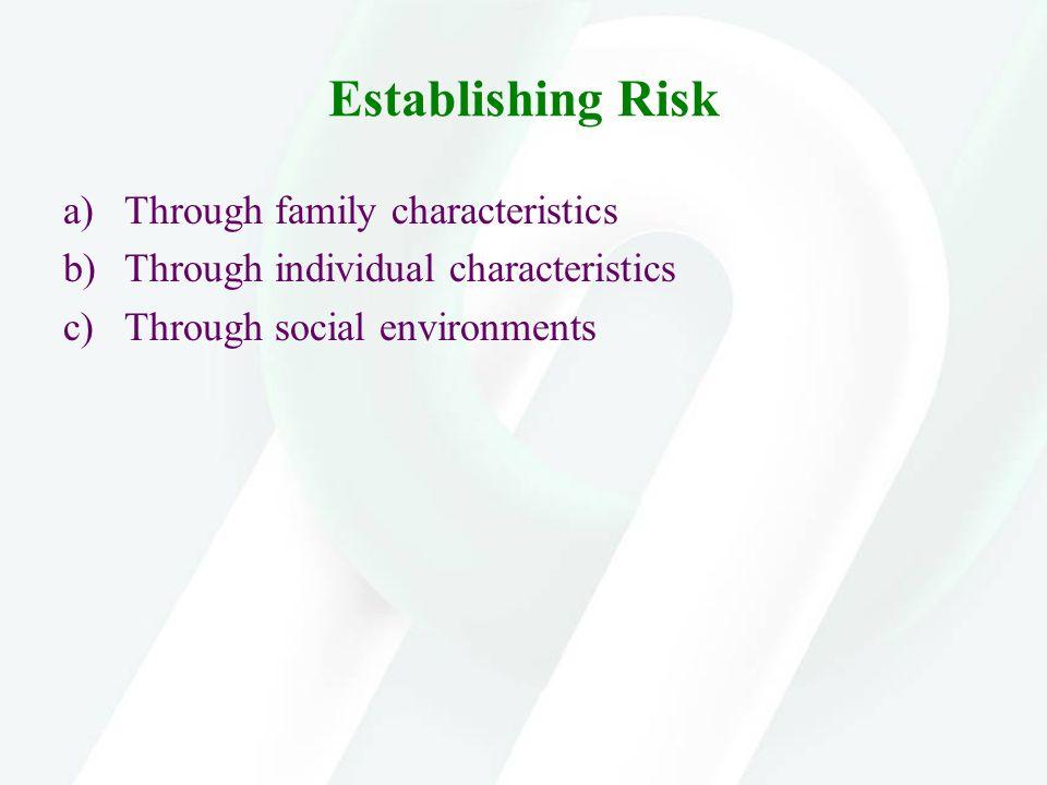 Establishing Risk a)Through family characteristics b)Through individual characteristics c)Through social environments