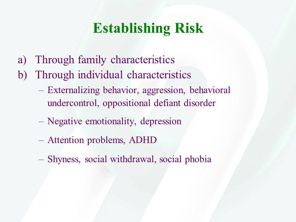 Establishing Risk a)Through family characteristics b)Through individual characteristics –Externalizing behavior, aggression, behavioral undercontrol,