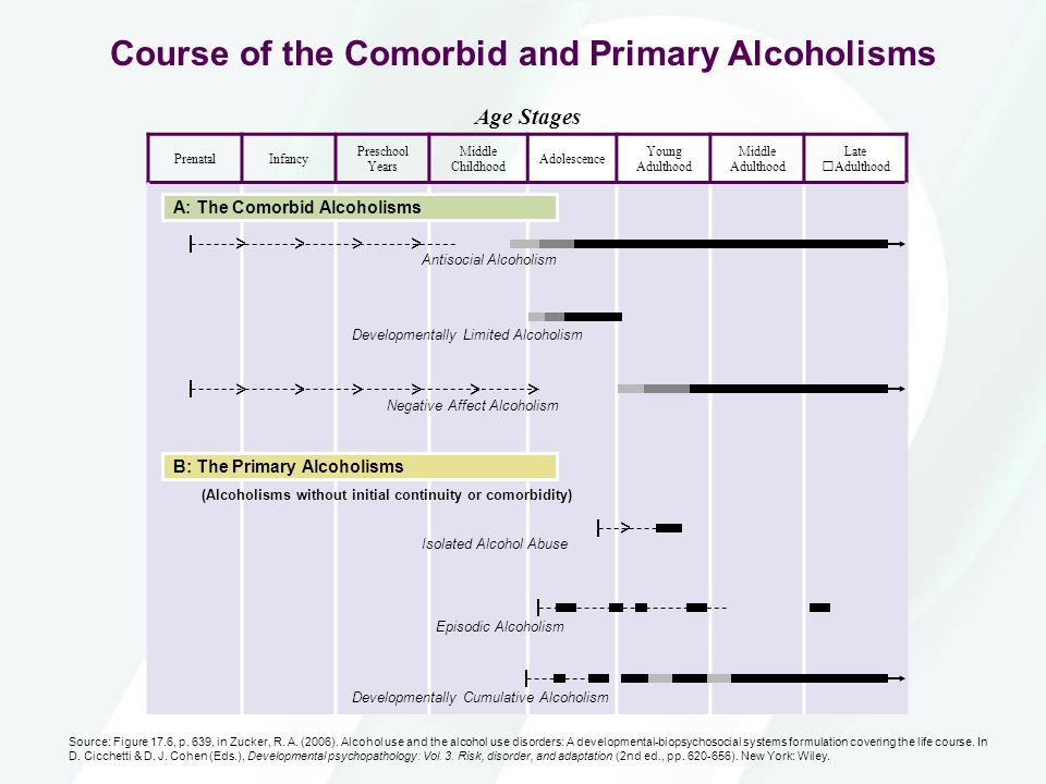 Course of the Comorbid and Primary Alcoholisms Age Stages PrenatalInfancy Preschool Years Middle Childhood Adolescence Young Adulthood Middle Adulthoo