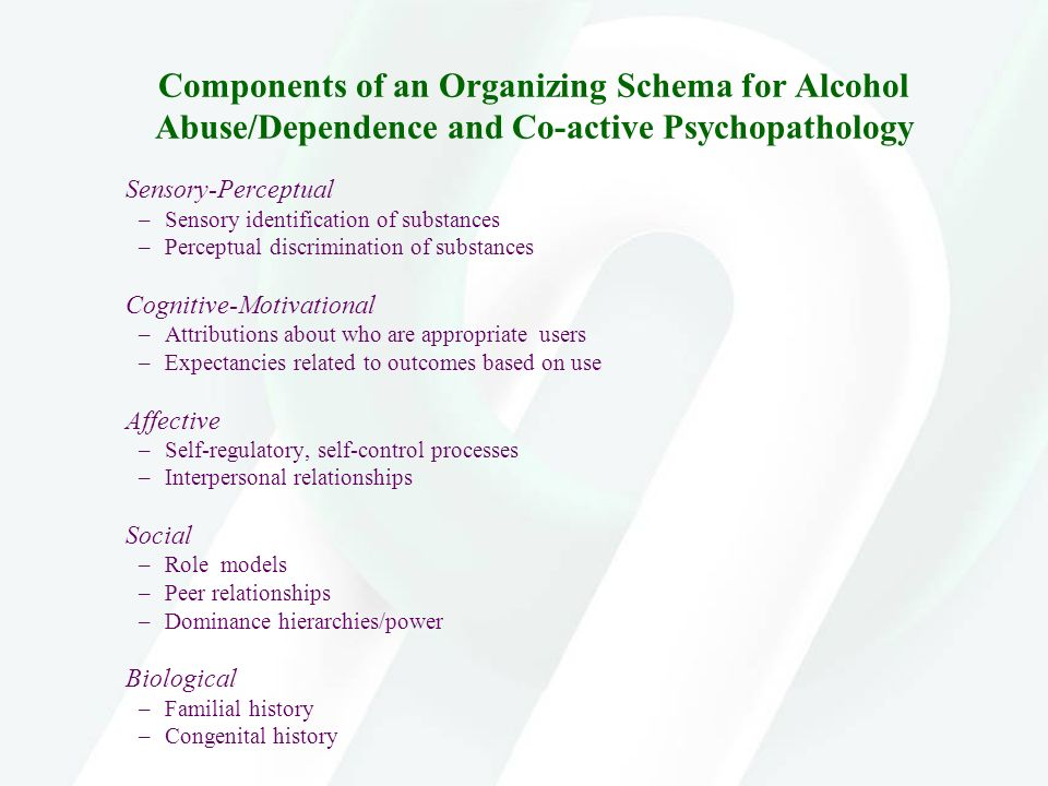 Components of an Organizing Schema for Alcohol Abuse/Dependence and Co-active Psychopathology Sensory-Perceptual –Sensory identification of substances