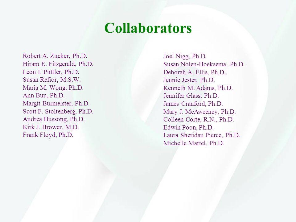 Collaborators Robert A. Zucker, Ph.D. Hiram E. Fitzgerald, Ph.D. Leon I. Puttler, Ph.D. Susan Refior, M.S.W. Maria M. Wong, Ph.D. Ann Buu, Ph.D. Margi