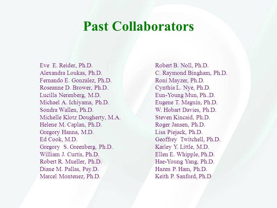 Past Collaborators Eve E. Reider, Ph.D. Alexandra Loukas, Ph.D. Fernando E. Gonzalez, Ph.D. Roseanne D. Brower, Ph.D. Lucilla Nerenberg, M.D. Michael