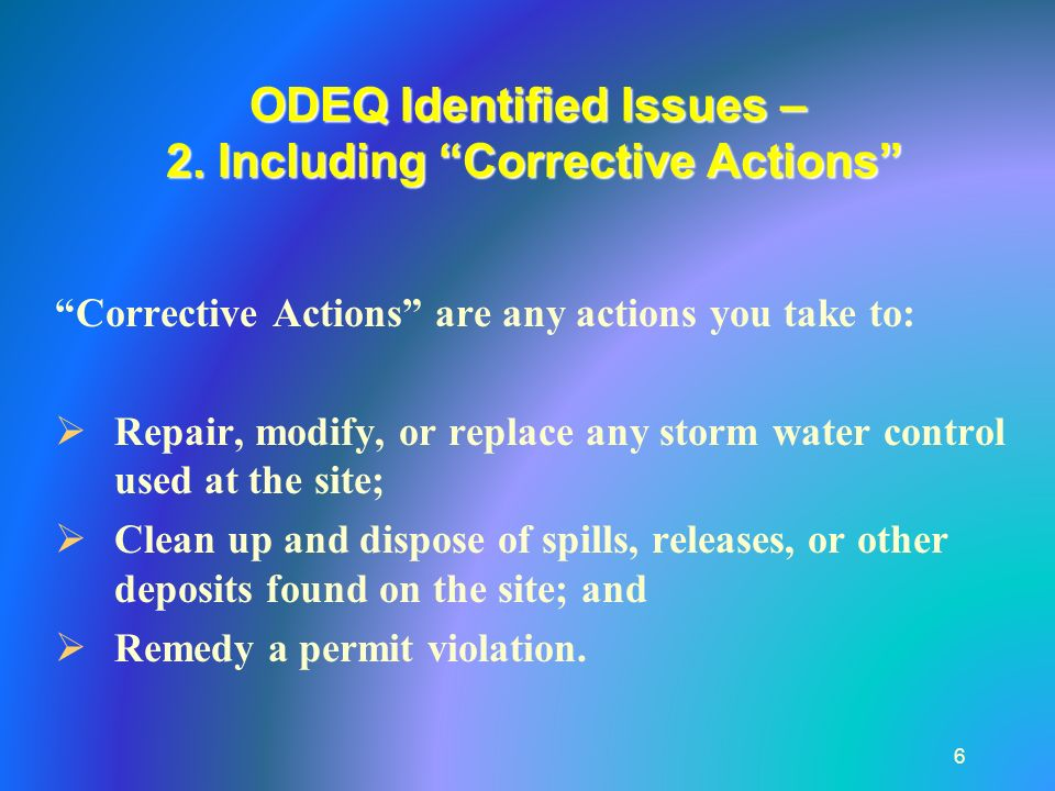 ODEQ Identified Issues – 2.