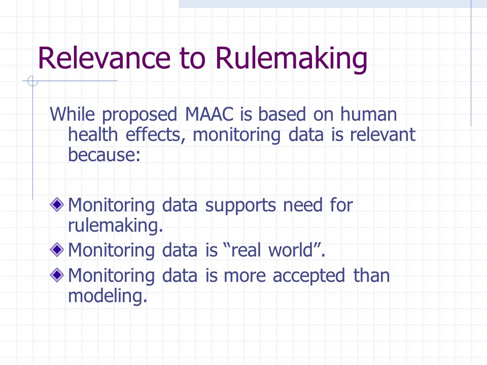 Relevance to Rulemaking While proposed MAAC is based on human health effects, monitoring data is relevant because: Monitoring data supports need for rulemaking.