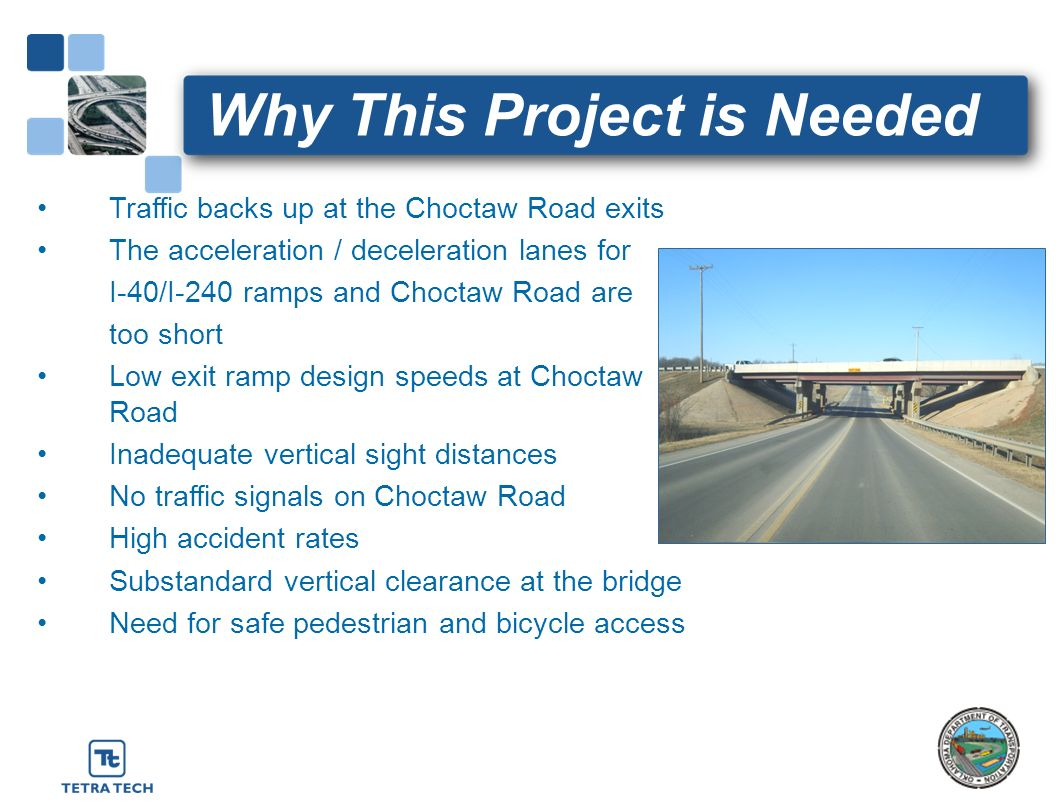 Why This Project is Needed Traffic backs up at the Choctaw Road exits The acceleration / deceleration lanes for I-40/I-240 ramps and Choctaw Road are