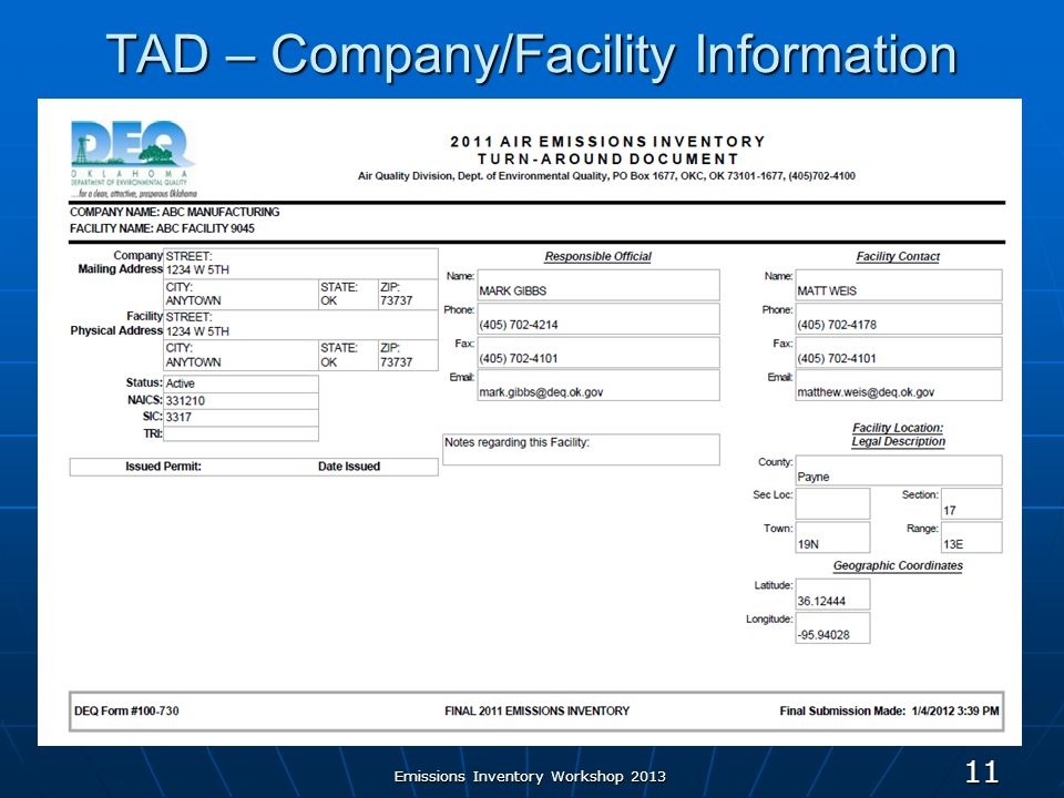 Emissions Inventory Workshop 2013 11 TAD – Company/Facility Information