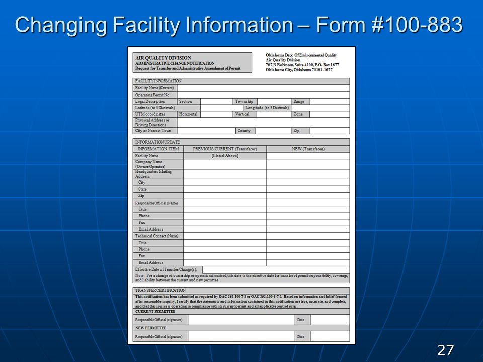 Changing Facility Information – Form #100-883 27