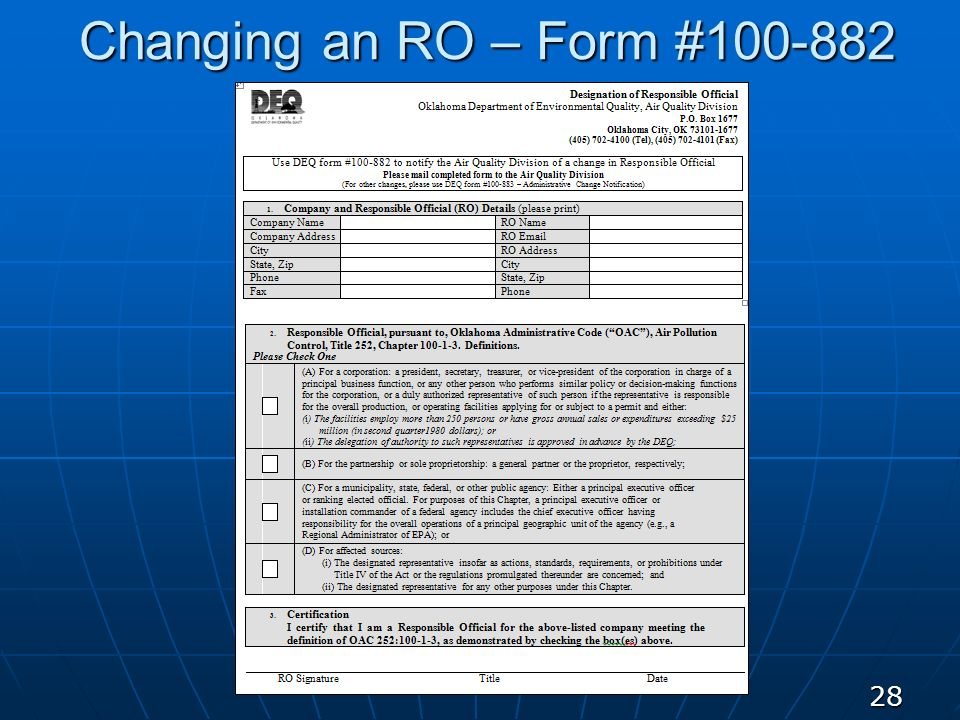 Changing an RO – Form #100-882 28