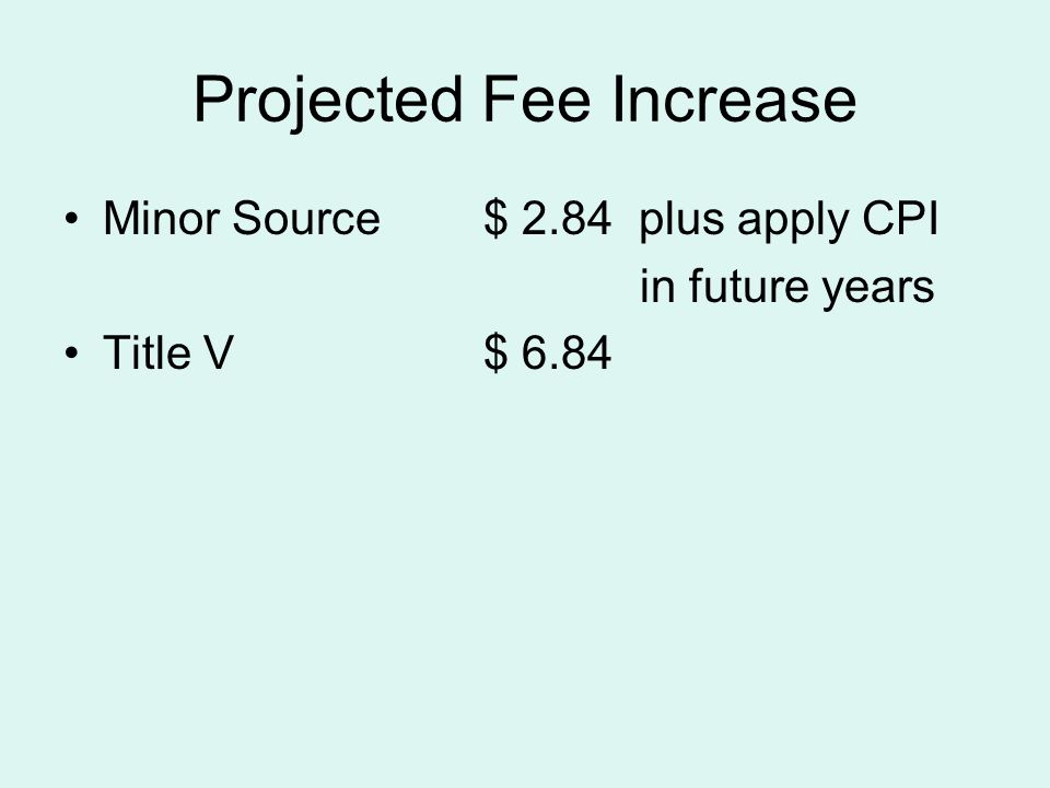 Projected Fee Increase Minor Source$ 2.84 plus apply CPI in future years Title V$ 6.84