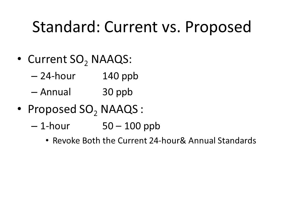 SO 2 : Current vs.Proposed NAAQS vs. SC31 Current Standards (App.