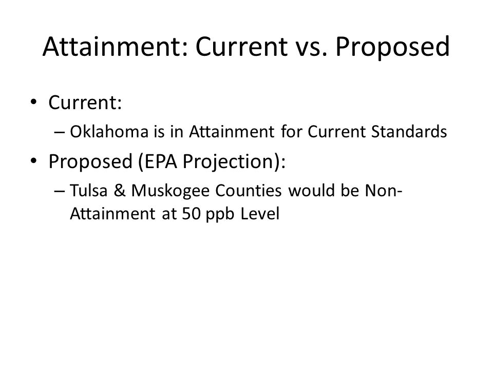Attainment: Current vs. Proposed Current: – Oklahoma is in Attainment for Current Standards Proposed (EPA Projection): – Tulsa & Muskogee Counties wou