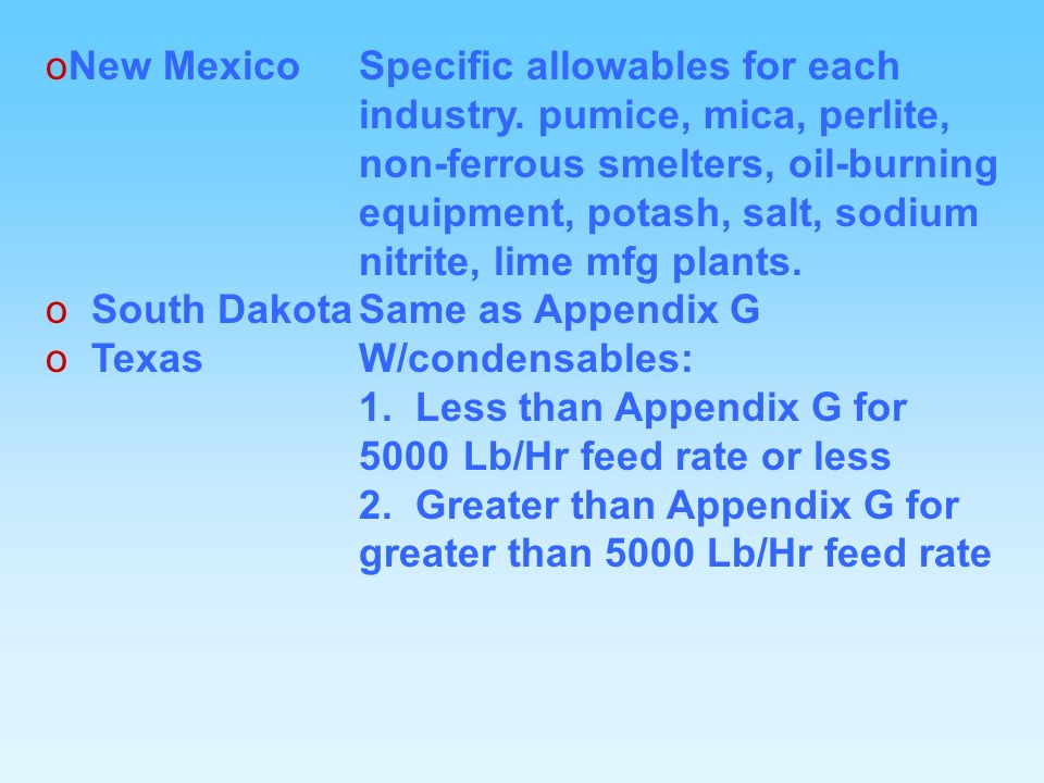 oNew MexicoSpecific allowables for each industry.