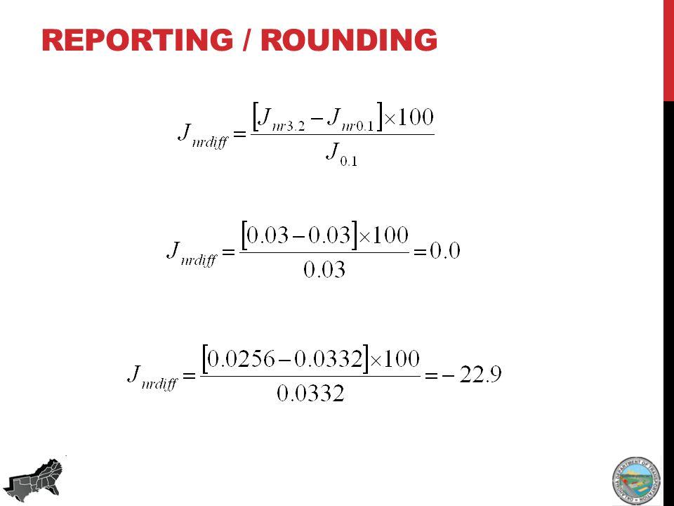 REPORTING / ROUNDING