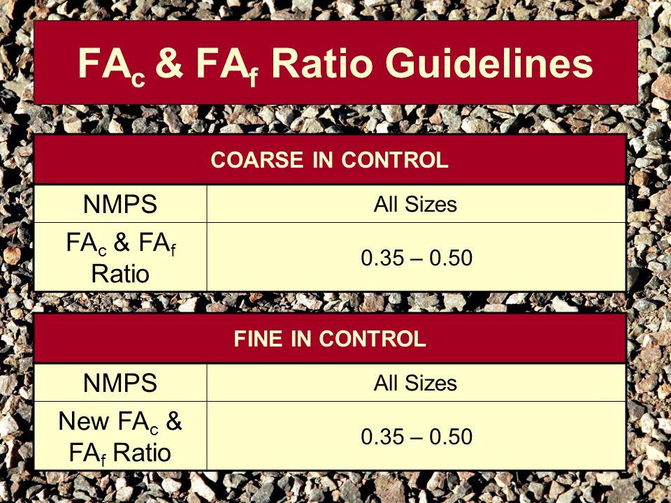 FA c & FA f Ratio Guidelines COARSE IN CONTROL NMPS All Sizes FA c & FA f Ratio 0.35 – 0.50 FINE IN CONTROL NMPS All Sizes New FA c & FA f Ratio 0.35