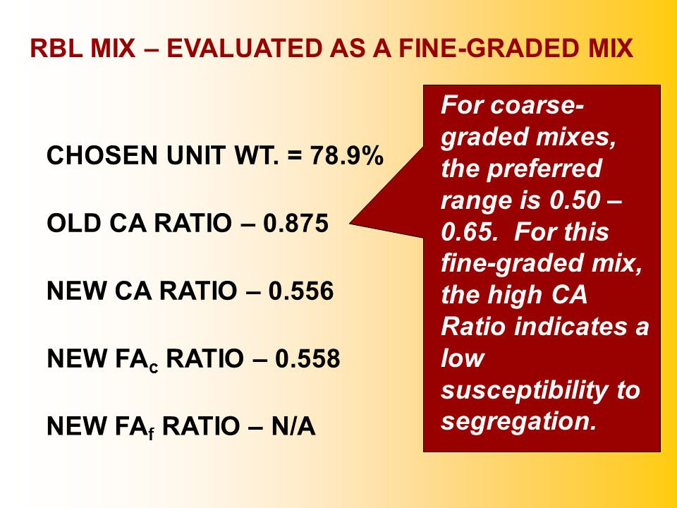 RBL MIX – EVALUATED AS A FINE-GRADED MIX OLD CA RATIO – 0.875 NEW CA RATIO – 0.556 NEW FA c RATIO – 0.558 NEW FA f RATIO – N/A For coarse- graded mixe