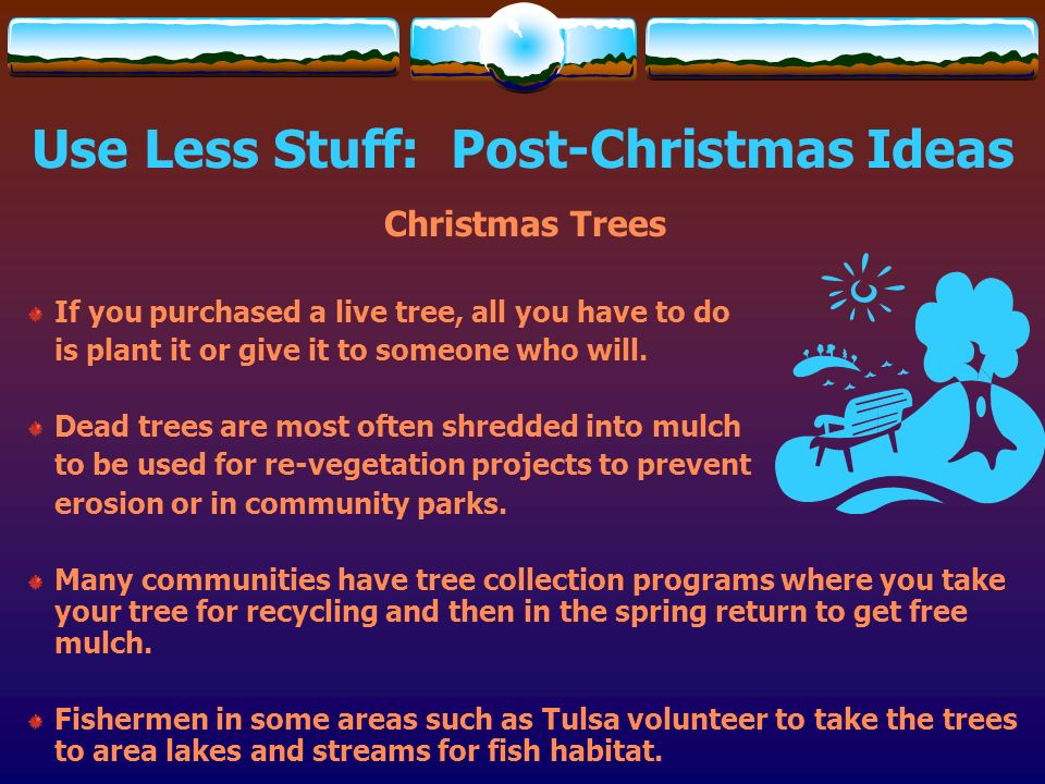 Use Less Stuff: Post-Christmas Ideas Christmas Trees If you purchased a live tree, all you have to do is plant it or give it to someone who will. Dead
