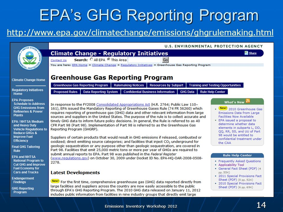 EPAs GHG Reporting Program 14   Emissions Inventory Workshop 2012