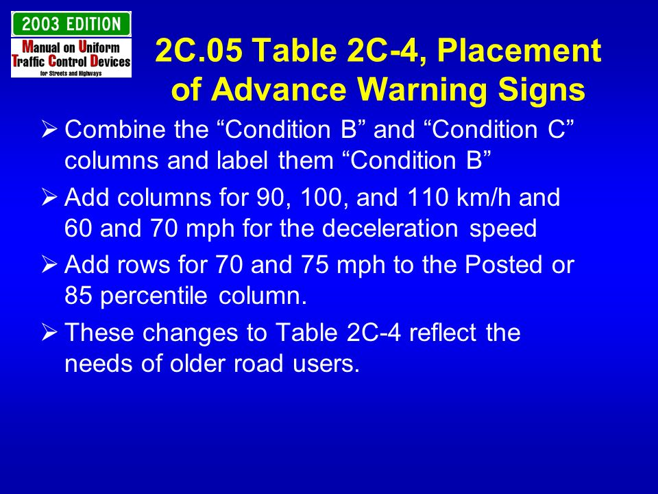 2C.05 Table 2C-4, Placement of Advance Warning Signs Combine the Condition B and Condition C columns and label them Condition B Add columns for 90, 10