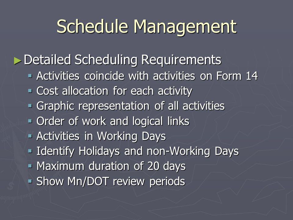 Schedule Management Detailed Scheduling Requirements Detailed Scheduling Requirements Activities coincide with activities on Form 14 Activities coinci