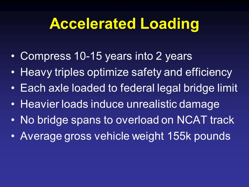 Accelerated Loading Compress 10-15 years into 2 years Heavy triples optimize safety and efficiency Each axle loaded to federal legal bridge limit Heav