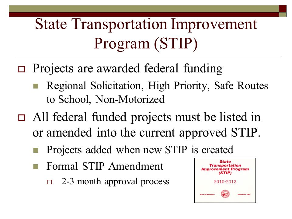 State Transportation Improvement Program (STIP) Projects are awarded federal funding Regional Solicitation, High Priority, Safe Routes to School, Non-