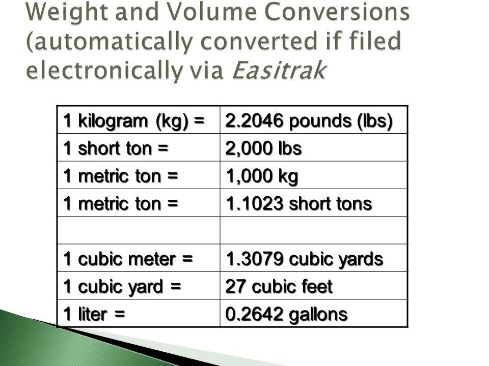 1 kilogram (kg) = 2.2046 pounds (lbs) 1 short ton = 2,000 lbs 1 metric ton = 1,000 kg 1 metric ton = 1.1023 short tons 1 cubic meter = 1.3079 cubic ya