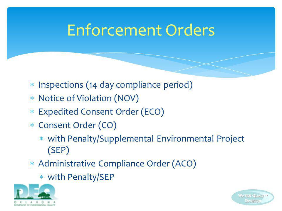 Inspections (14 day compliance period) Notice of Violation (NOV) Expedited Consent Order (ECO) Consent Order (CO) with Penalty/Supplemental Environmen