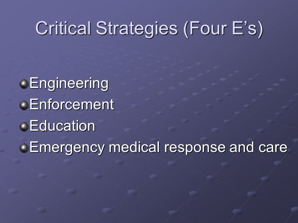 Critical Strategies (Four Es) EngineeringEnforcementEducation Emergency medical response and care