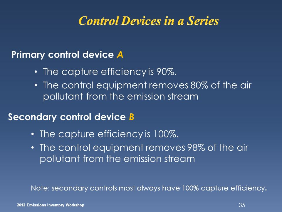 35 2012 Emissions Inventory Workshop Primary control device A The capture efficiency is 90%. The control equipment removes 80% of the air pollutant fr