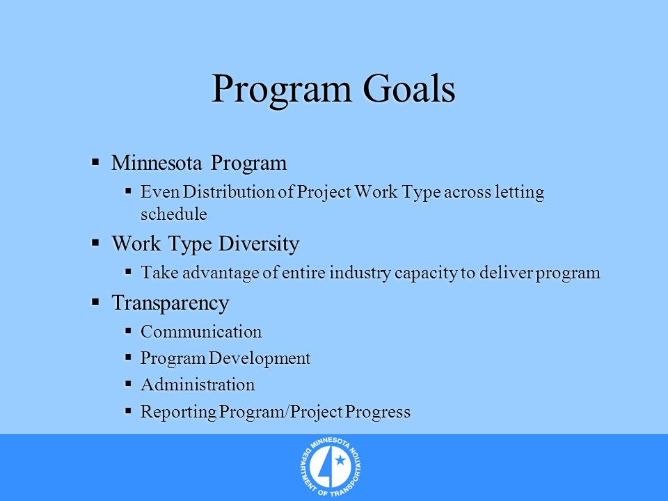 Program Goals Minnesota Program Even Distribution of Project Work Type across letting schedule Work Type Diversity Take advantage of entire industry c
